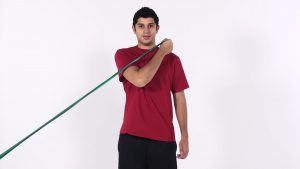 shoulder diagonal using elastic
